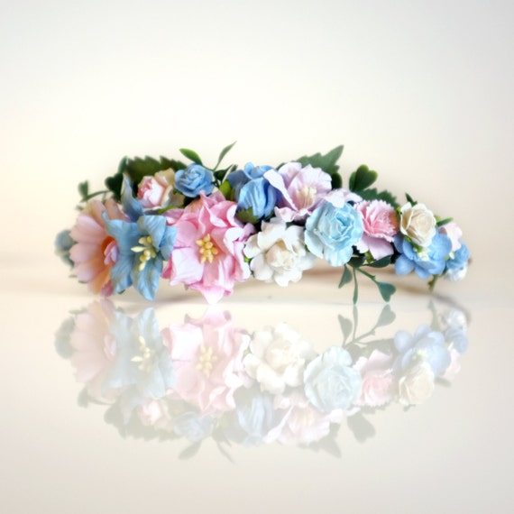Blush And Blue Wedding Flower Crown DIY By OhDinaFlowerCrowns