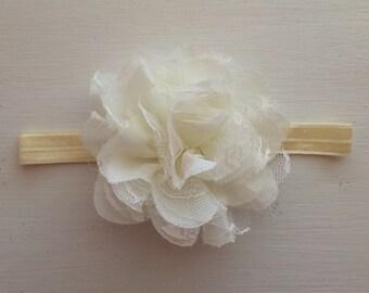 Vintage Inspired Lacey Ivory Flower Headband, Baby Girl IvoryHeadband, Baby Headband, Toddler Headband, Newborn Headband, Photo Prop
