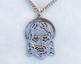 Vintage new old stock sterling silver Jesus head charm pendant 1960s