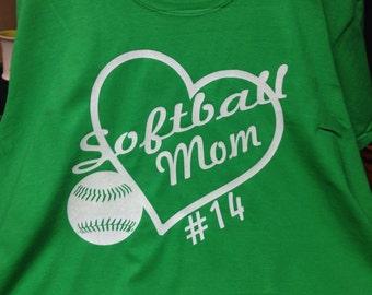 Customized Softball Mom Tshirt