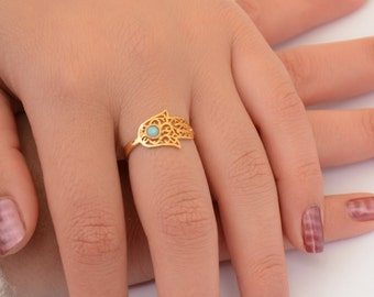 hamsa ring 14k goldfilld ring with opal