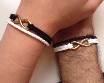 Couples Bracelets 147- friendship love cuff infinity yin and yang  bracelet leather braid gift boyfriend girlfriend