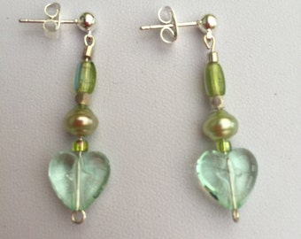 Hand Crafted Green Beaded Drop Earrings