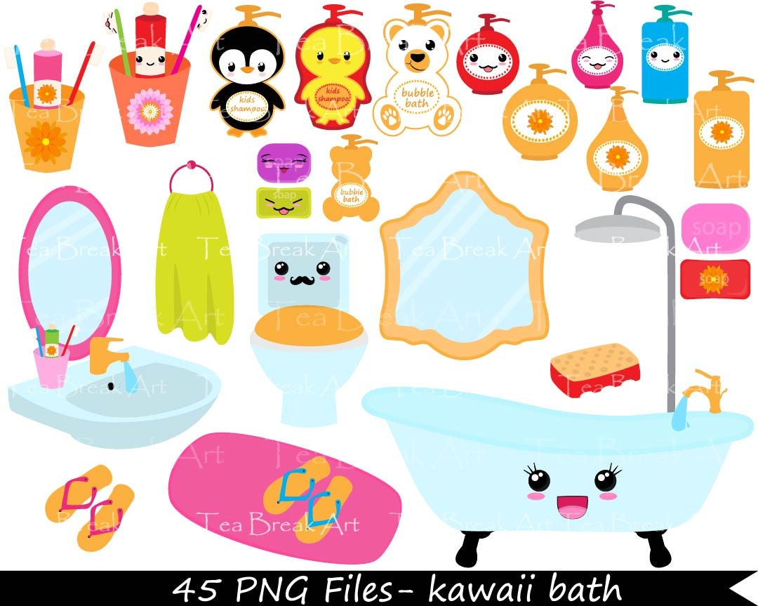 Kawaii Bath Digital Clip Art Graphics For By TeaBreakArt On Etsy