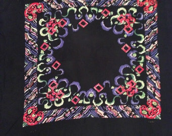 Vintage 1940 scarf Modern multicolour design black silk rayon For sewing craft patchwork clothing accessory scrapbooking