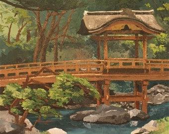 "Sankeien Garden 36"" x 24"" oil painting"