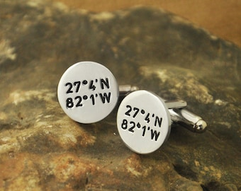 Latitude and Longitude cuff links Coordinates Cufflinks alloy Father's Day Gift for Men MensValentinesGift giftsforhim