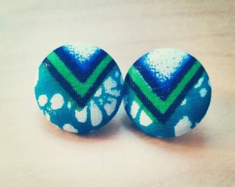 Fabric Covered Button Earrings,  Blue Lagoon (Wax Print, Ankara, Studs, Accessories)