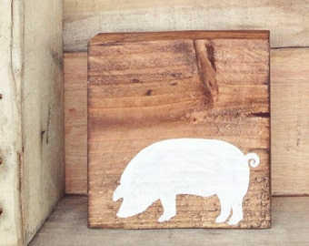 Hand painted pig sign on reclaimed wood