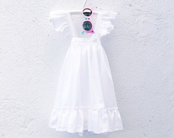 Girls White Cotton Summer Frilly Dress, Size 1, size 2, size 4, size 6, size 8, size 10