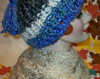 SALE! Chunky Knit Cable Tassel Hat Hometown USA Yarn Handmade