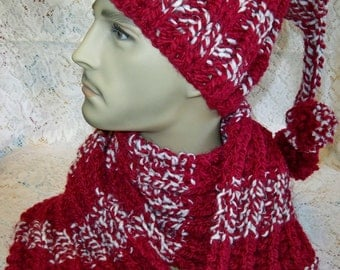 SALE! Chunky Knit McClarren Park Ranger Ribbed Hat with Pom Poms and Brisbane Scarf Set Crimson Wool Ease Thick and Quick Yarn Handmade