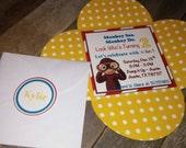 Curious George Invitations ~ 3x3 Petal envelope DIGITAL FILE