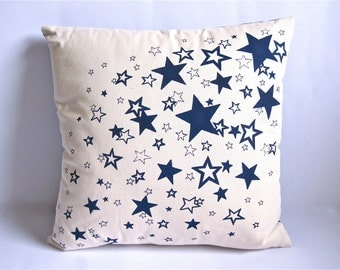 "Screen printed Night Blue ""Sprinkle of Stars"" cushion cover"