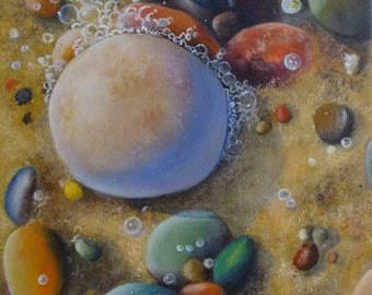Small Original Oil Painting of Pebbles on the Seashore