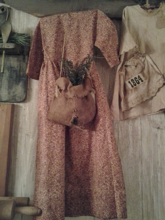 Primitive dress with burlap sack by Thyme4Primitives on Etsy