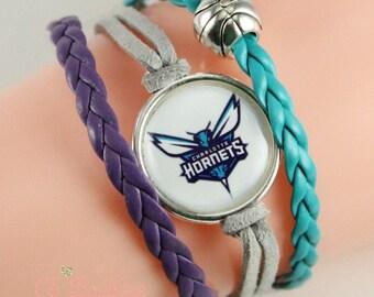 Charlotte Hornets faux suede leather bracelet