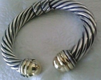 David Yurman Gold and Silver  Cable Bracelet