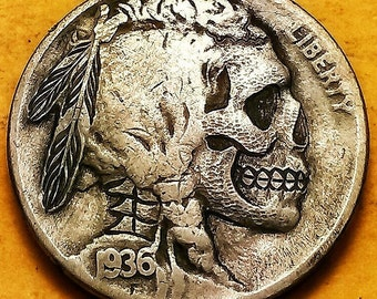 Indian Skull Hobo Buffalo Nickel Carved By James Boudreau! These are not carved yet & are made when Ordered!