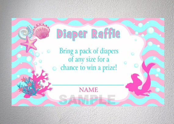 mermaid baby shower diaper raffle tickets pink by