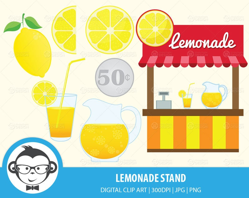 Lemonade Stand Digital Clip Art Instant by MonkeyGraphicDesign