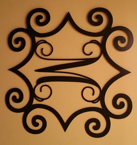 Single metal initial vine monogram with wrought by