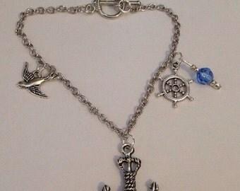Anchor Charm Bracelet/ Nautical themed charm bracelet/ Sailing themed charm bracelet