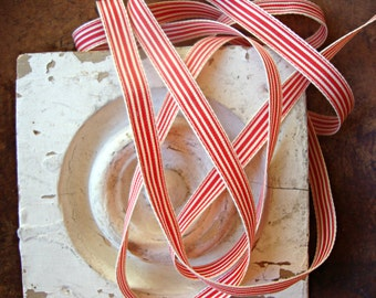 2 Yards - Red and Cream Ticking Stripe Grosgrain Ribbon