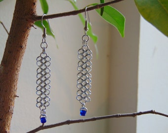 European 4 in 1 Ribbon Earrings in Stainless Steel with Glass Beads
