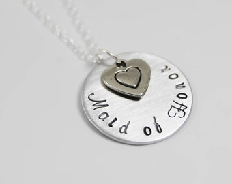 Hand stamped Wedding jewelry,  Bridesmaid, Maid of Honor, Personalized  necklace, with a heart