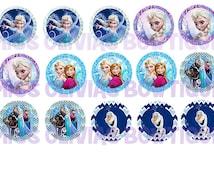 15 Custom Digital Frozen Bottle cap Images ( Instant Download) Print Your Own