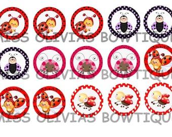 15 Digital 1 inch Custom Lady Bug Bottle Cap images (print your own) Instant Digital Download