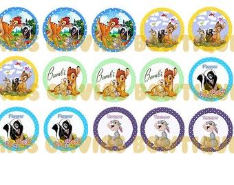 15 Custom Digital Bambi Bottle cap Images (Instant Download) Print your own