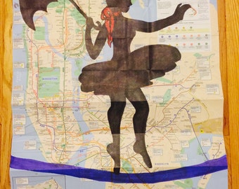 "32.5"" x 23"" Marker Drawing of Circus Tight Rope Walker on NYC Subway Map"