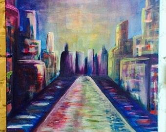 "20"" x 16"" ""Golden Days"" City Acrylic Painting"