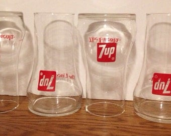 Vintage 7 Up the Un Cola Tumblers, Set of Four (4)