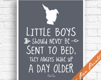 Little Boys Should Never Be Sent to Bed, They Always Wake Up A Day Older - Inspired Art Print (Unframed) (River Rock) Peter Pan Prints