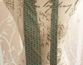 Mens Vintage Retro Red Green Patterned Silk Tie