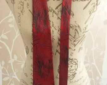 Mens Vintage Retro Red Feather Patterned Silk Tie