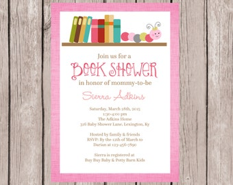 PRINTABLE- Baby Book Shower Invitation - Stock the Library- 5x7 JPG