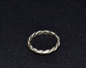 Vintage Braided Silver Tone Ring Ethnic