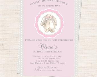 Velveteen Bunny Birthday Party Invitation | Pink Bunny Party Invitation Printable | Girl 1st Birthday | Gracie Lee Design