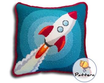 Needlepoint Pattern. Instant Digital Download Pattern. Rocket Ship Pillow Pattern. Needlepoint Rocket. Spaceship Cross Stitch Pattern.
