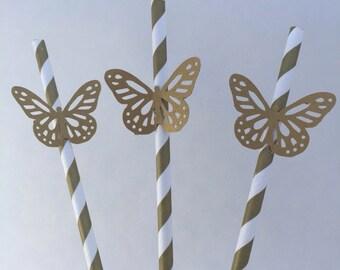 Cinderella Paper Straws: 10 Gold Butterfly Paper Straws, Cinderella Party