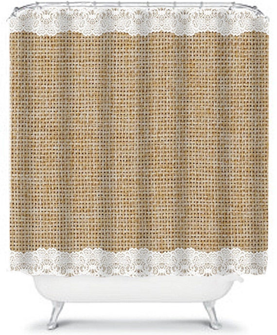 Items Similar To Simple Burlap And Lace Shower Curtain
