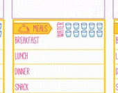 Daily food log stickers [Printable], Daily menu, meal plan, meal planning, water hydration tracker note.