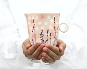 Porcelain jug. Lavender handmade paintings. Unique milk pot. Handmade porcelain pitcher in white and pink colors design by Raklata studio