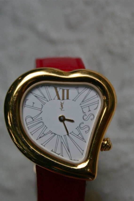 Reserved For E August Sale Ysl Heart Watch Vintage Yves