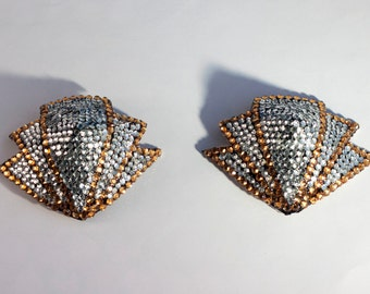Rhinestone burlesque pasties crystal/gold Art Deco fans MADE TO ORDER