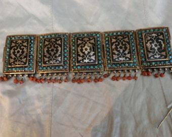 Uzbekisthan,Turkmanistan, Ethnic silver bracelet, turquois, corral and niello. Vintage.